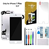 For iPhone 7 Plus Screen Replacement 5.5' White LCD Display with 3D Touch Screen Digitizer Full Assembly + Front Camera + Earpiece + Free Screen Protector + Repair Tools Kit (White)