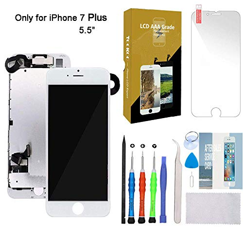 "for iPhone 7 Plus Screen Replacement 5.5"" White LCD Display with 3D Touch Screen Digitizer Full Assembly + Front Camera + Earpiece + Free Screen Protector + Repair Tools Kit (White)"