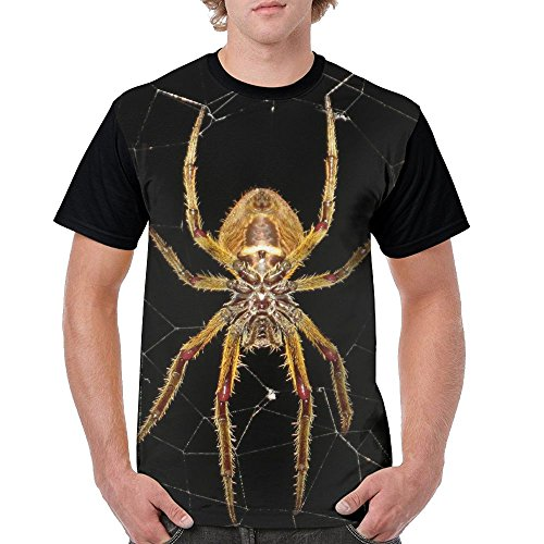 YALU Spider Araneid Insect Men Cool Tee Tshirt 3D Printed T-Shirt Crew Neck Tops XXL