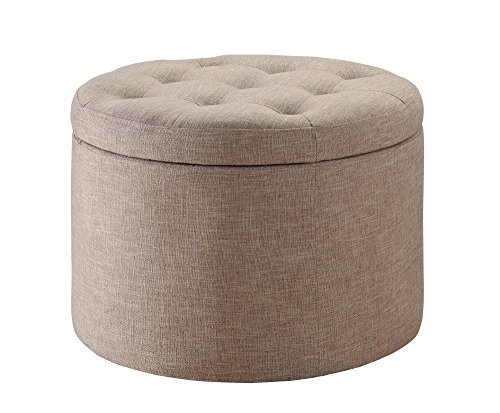 (Convenience Concepts Round Shoe Ottoman, Tan)