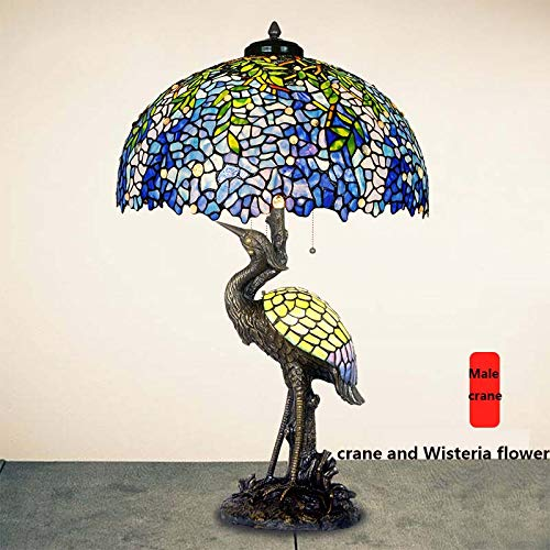 BEAR&MH Tiffany Style Table Light, European Art Collection Animal Table lamp with Pure Copper Base and Stained Glass, Bedroom Coffee Table Living Room Desk Bedside Light E27 E14 ()
