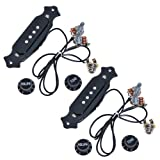 2sets Pre-wired Cigar Box Guitar Pickup with Volume & Tone for Electric Guitar