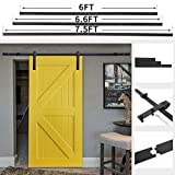 JAXPETY Barn Door Sliding Horseshoe Door Hardware Track Set Black (6FT Flat)