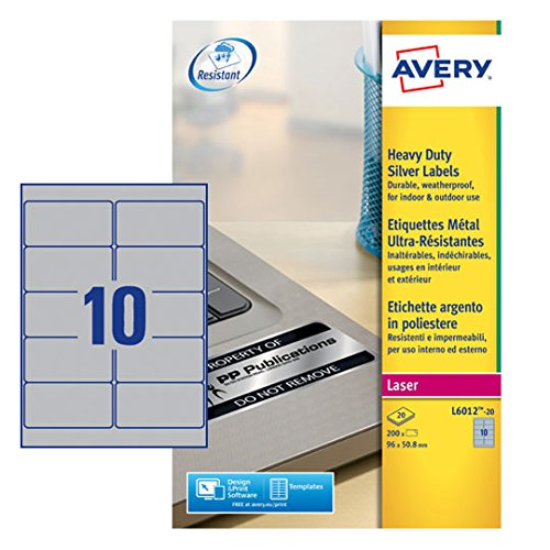 Avery Heavy Duty Labels - Silver (20 Sheets, 10 per Sheet) ()