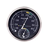 Sixsons Thermometer Hygrometer Analog Stainless Steel Temperature/Humidity Weather Meter (#047)