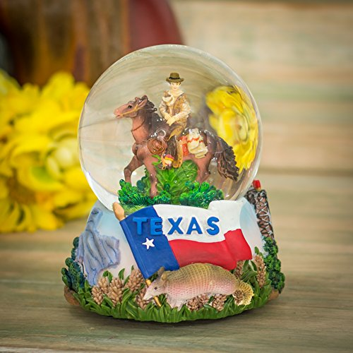 Texas Cowboy 100mm Resin Glitter Water Globe Plays Tune Deep in the Heart of Texas by Cadona International, Inc (Image #1)