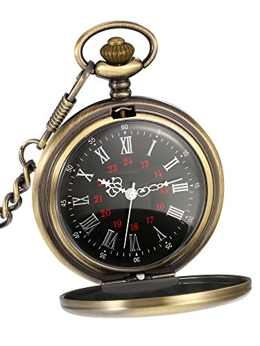 Mudder Smooth Antique Quartz Pocket Watch with Steel Chain (Bronze) Brass Quartz Pocket Watch
