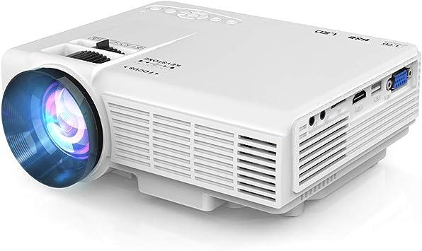 Proyector, Proyector de Video Soporta 1080P HD, Proyector Mini Compatible con TV Stick PS4 Xbox Wii HDMI VGA SD AV USB, Home Theater Proyector, Blanco.: Amazon.es: Electrónica