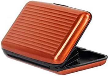 Kreditkarteninhaber Wasserdichter Rfid Blocking Schutz Aluminium Brieftasche Id Karte Visitenkartenetui Für Männer Und Frauen Orange