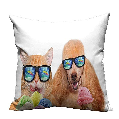 YouXianHome Print Bed Pillowcases Dog Pet with Sunglasses Eating Ice Cream Retro Cool Vintage Pop Artwork Image Washable and Hypoallergenic(Double-Sided Printing) 31.5x31.5 inch