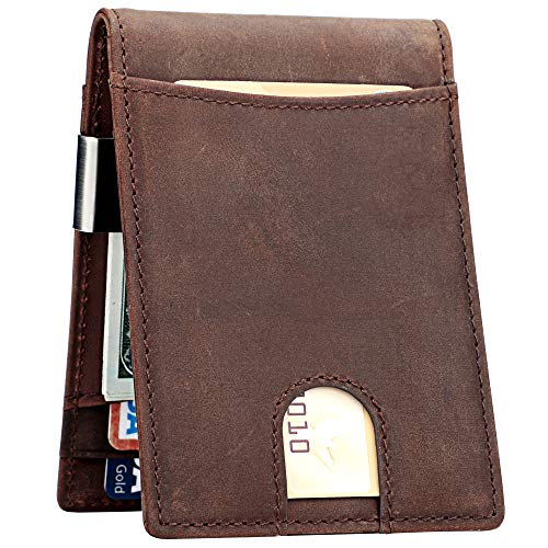 Lavemi Money Clip Wallet for Men Slim Front Pocket RFID Blocking Card Holder Minimalist Bifold Wallet(Dark Brown) (Best Money Clip Wallet)