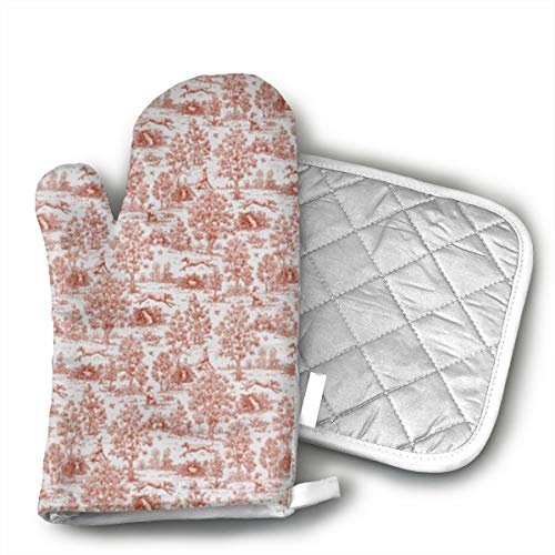 KEIOO Oven Mitts and Potholders Heat Resistant Kitchen Set Non-Slip Grip Oven Gloves BBQ Cooking Baking Grilling Set of 2 Gray and Burgundy Greyhound Toile