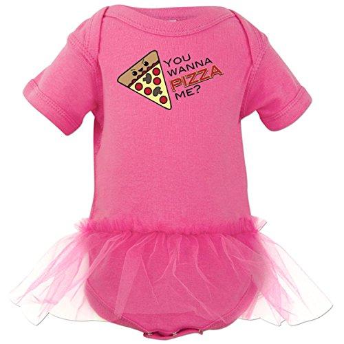 Inktastic Baby Girls' You Wanna Pizza Me? Infant Tutu Bodysuit 6 Months Raspberry