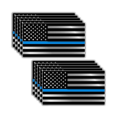 (10 Pack of Thin Blue Line Police Officer BLM American Flag Vinyl Decal Sticker Car Truck 3