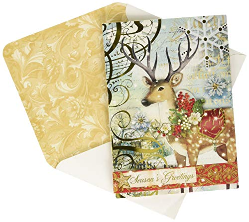 Punch Studio Christmas Reindeer Woodland Whimsy Dimensional Holiday Greeting Cards - Set of 12 (57761) (Punch Cards Christmas)