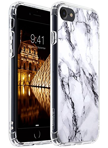 ULAK iPhone 8 Case Marble, iPhone 7 Clear Case, Slim Fit Premium Hybrid Shockproof & Scratch Resistant Clear Case Cover Hard Back Panel+TPU Bumper for iPhone 7 & 8 4.7 Inch - Marble Pattern