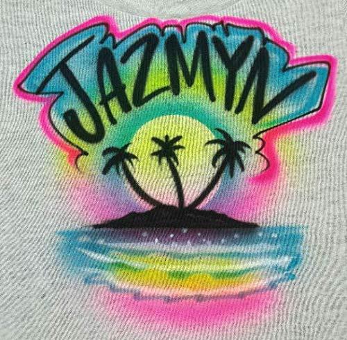 (80's Neon Airbrush Beach Scene - Youth/Adult Hoodie Sweatshirt- Includes your Name)