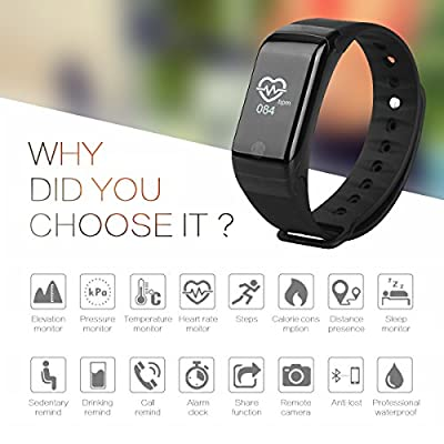 WinBridge A77 Smart Watch Waterproof IP67 Fitness Tracker with Heart Rate Monitor Sports Bracelet Compatible with Android and iOS for Hiking Outdoor Sports Gym Exercise