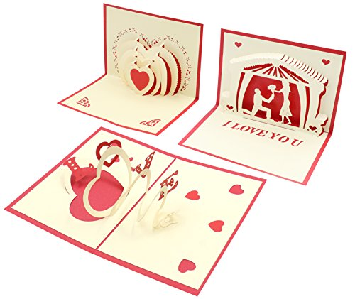 Valentine's Day Cards for Lovers , 3 Pcs 3D Heart-Shaped Love Cards, Lovely Heart Pop Up Design, 3.5