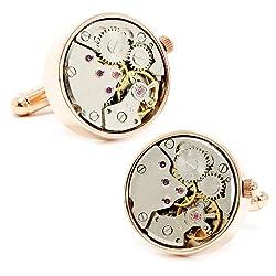 Round 20mm Rose Gold Watch Movement Cufflinks Novelty 1 x 1in