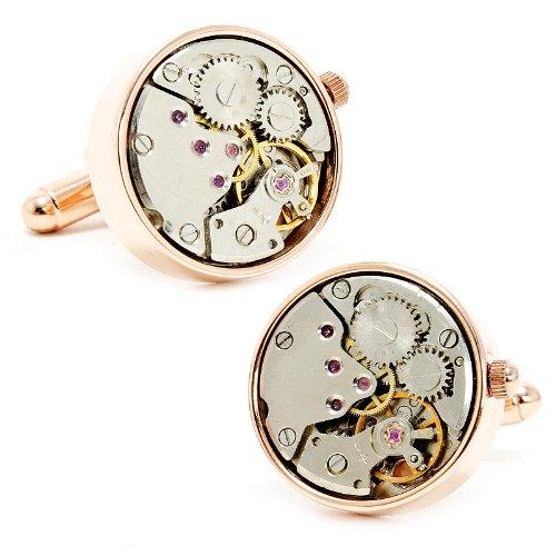 Round 20mm Rose Gold Watch Movement Cufflinks Novelty 1 x 1in ()