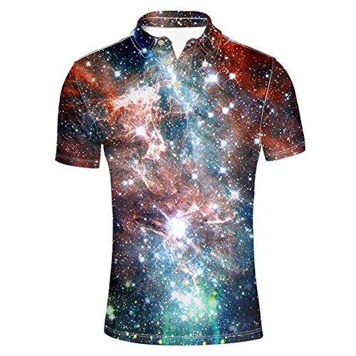 HUGS IDEA Night Sky Print Fashion Jersey Polos T-Shirt Tees Slim Fit Button up Shirt Short Sleeve -