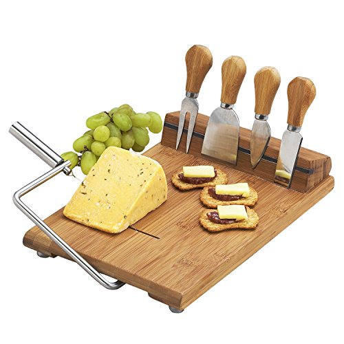 Picnic at Ascot Original Bamboo Cheese Board with Wire Cheese Slicer & Knife Set- Designed & Quality Approved in the USA