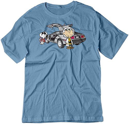 BSW Men's Back to The Future Charlie Brown Snoopy Shirt LRG Carolina Blue -