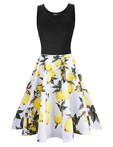 ARANEE Women's Patchwork Pockets Puffy Swing Casual Party A Line Tank Dress (M, Yellow) - Puffy Yellow Dress