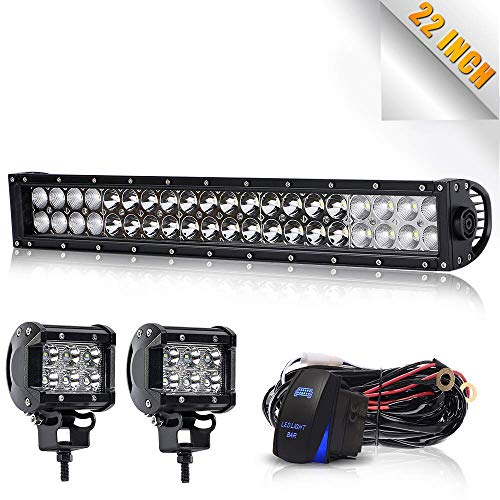 "TURB0 SII 22"" LED Light Bar 120W Flood Spot Combo Beam Led Bar W/ 2Pcs 4Inch Driving Fog Lamp Off Road Lights with Rocker Switch Wiring Harness-3 Leads for Jeep Trucks Polaris ATV Boats Lighting"