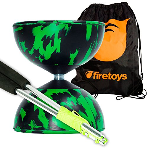 Harlequin Diabolos Set, Metal Diabolo Sticks, Diablo String & Bag (Green & Black)