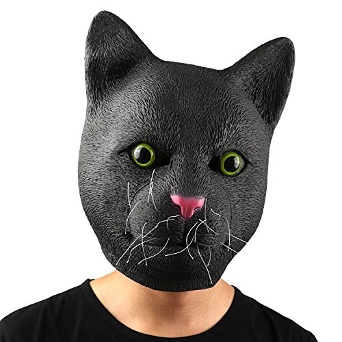Cat Head Mask - Halloween Costume Party Animal Toy Mask by Monstleo