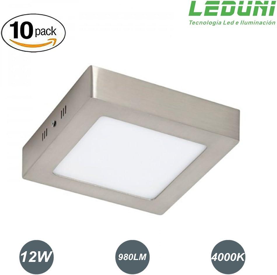 LEDUNI ® Pack 2 Unidades Plafón Panel Downlight Níquel Superficie LED Cuadrado 12W 980LM Luz Neutra 4000K Angulo 120 IP44 Níquel 170mm*170mm*40Hmm: Amazon.es: Iluminación