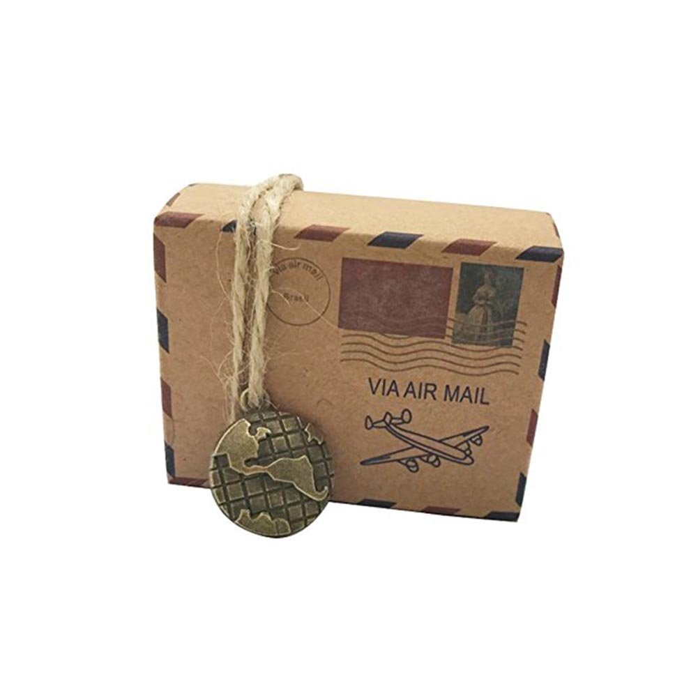 BUYITNOW 50Pcs Vintage Airmail Kraft Favors Boxes with Twine for Wedding Travel Party