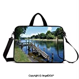 AngelDOU Notebook Bag for School Laptop Sleeve Messenger Bags Waikato River Hamilton City New Zealand Holiday Destination Travel Landmark PC Cover case Compatible with mac pro/asus/acer/hp/xiaomi G