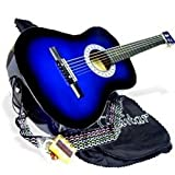 38'' BLUE Acoustic Guitar Starters Beginner Package, Guitars, Gig Bag, Strap, Pitch Pipe Tuner, 2 Pick Guards, Extra String & DirectlyCheap Pick (BU-AG38) [Teacher Approved]