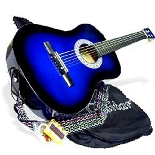 38″ BLUE Acoustic Guitar Starters Beginner Package, Guitars, Gig Bag, Strap, Pitch Pipe Tuner, 2 Pick Guards, Extra String & DirectlyCheap Pick (BU-AG38) [Teacher Approved]