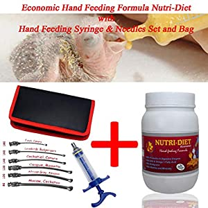 Pet Care International (PCI) Economic Nutri-Diet Hand Feeding Formula & Stainless Steel Adjustable Hand Crop Feeding Syringe & Ball Curve Tip Needles Set with Carry Storing Bag with for Birds (Combo)