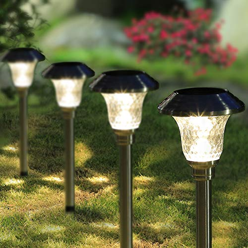 - MAGGIFT 6 Lumens Solar Pathway Lights Outdoor Solar Garden Lights Stainless Steel Solar Landscape Inground Lights for Lawn, Patio, Yard, Walkway, Driveway(4 Pack)