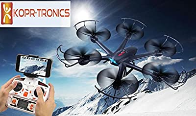 2016 HEX DRONE X600 RC Hexacopter WiFi FPV Quadcopter Drone with Camera Live Video HD 720P Android/IOS APP Compatible with 3D VR Headset,One-Key Return & Headless Mode & 360 Degree Flips Roll from KOPR-Tronics