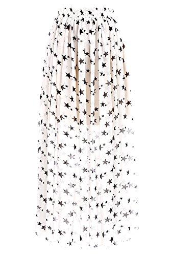 Topdress Women's Floor Length Beach Skirt Floral Print Chiffon Maxi Skirts White Star -
