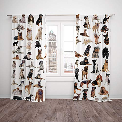 Polyester Window Drapes Kitchen Curtains,Dog Lover Decor,Pic