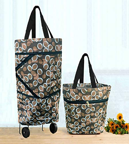 Collapsible Shopping Bag Foldable Shopping Bag with Wheels Shopping Cart Trolley Bag ()