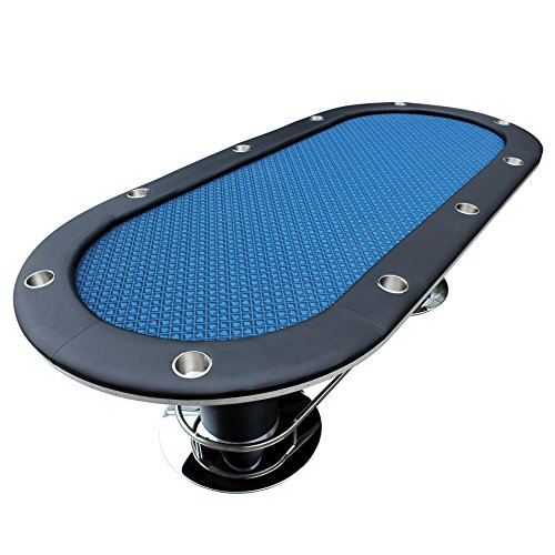 Poker Table for 10 Players Blue Speed Cloth Oval 96 x43 Inch Stainless Steel Cup Holders Pedestal Base by IDS Poker ()