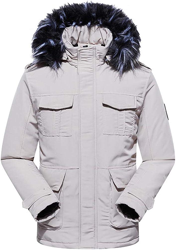Manteau Homme avec Capuche Hiver Chaud Long Blouson Parka épais Veste en Cotton Outdoor Jacket