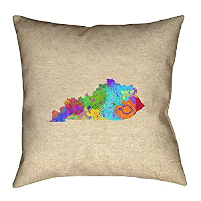 "ArtVerse Katelyn Smith Kentucky Watercolor 16"" x 16"" Pillow-Cotton Twill Double Sided Print with Concealed Zipper Cover Only"
