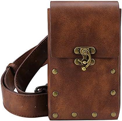 Bolsa de ante Medieval, monedero con cordón de cuero para cinturón, billetera para hombres y mujeres, disfraz de Larp Vikingo, accesorio Cosplay,