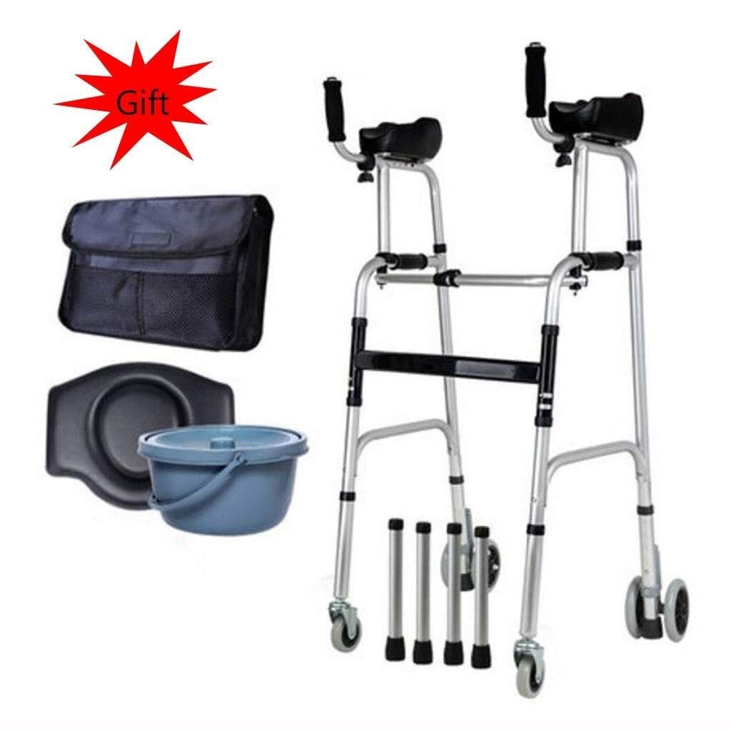 Folding Lightweight Aluminium Walking Frame with Wheels, Ergonomic Handle and Handbag Walking Mobility Aid Auxiliary Walking Safety Walker (Color : with Toilet)