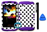 LG Google Nexus 4 E960 Hybrid 2 in 1 Dual Layer Kickstand Case Cover Retro Polka Dots Design+ Wristband + Pry Tool + Stylus Pen By Wireless Fones (PURPLE)