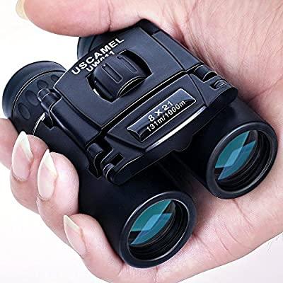 USCAMEL Folding Pocket Binoculars Compact Travel Mini Telescope HD Bak4 Optics Lenes Easy Focus 8x21 Colour Black from USCAMEL
